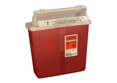5 Quart Transparent Red Sharps Container
